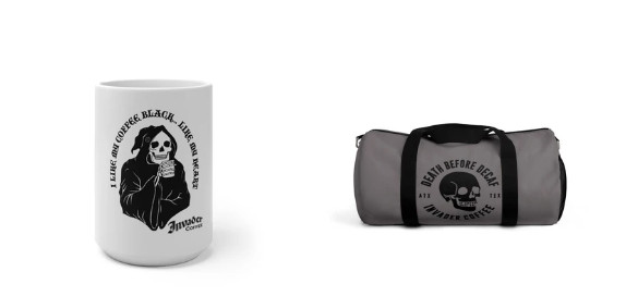 an Invader Coffee mug and bag