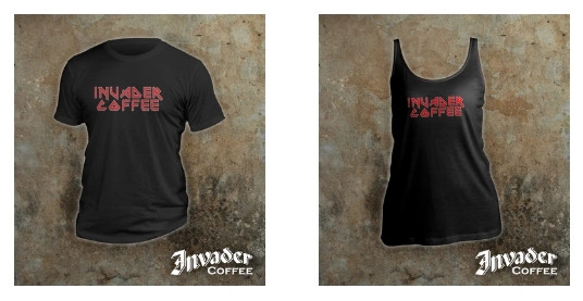 An Invader Coffee black T-Shirt and an Invader Coffee black tank top