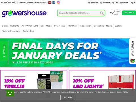 GrowersHouse Hydroponics Coupons and Promo Code